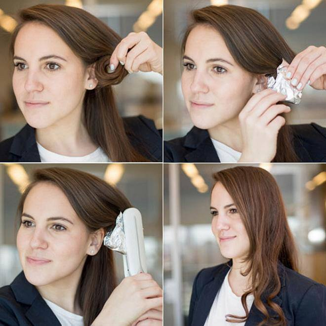 Делать легкие волны на волосах при помощи фольги и утюжка