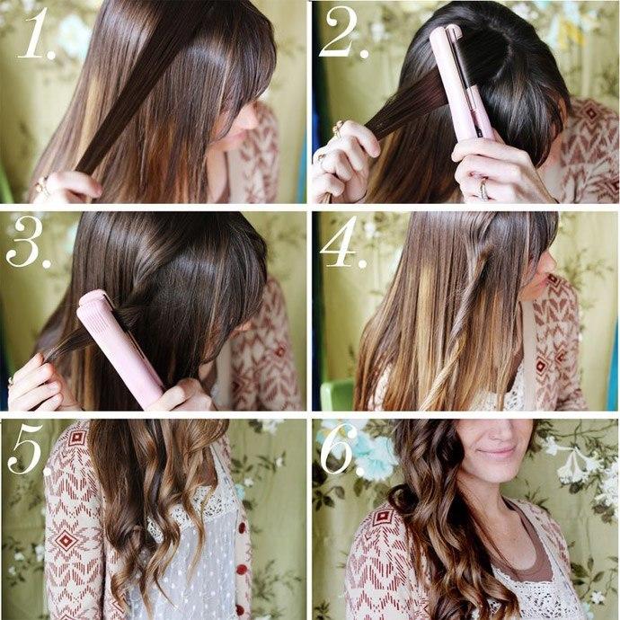 Как сделать прическу утюжком на длинные волосы