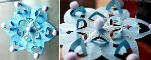 Как делать снежинки из бумаги поэтапно?